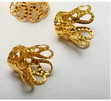 Концевик - шапочка - обниматель для бусин, под золото, 20 шт.
