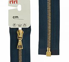 МОЛНИЯ металл, золото, разъем 1 замок, на атласе, 4 мм, 70 см, цвет 2131, темно-синий