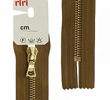 Молния RIRI металл. GO, 6 мм, 16 см, на атласной тесьме, 1 замок неразъемный, FLASH, цвет 2223 светло-коричневый