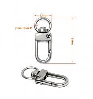 Карабин металлический для сумок никель, 34 мм