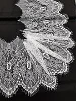Гипюр белый с ресничками 22 х 150 см