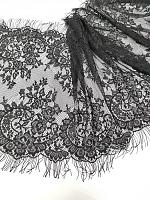 Гипюр черный с ресничками 40 х 140 см