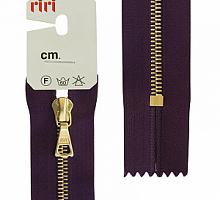 Молния riri 4мм, атлас., золото, неразъем.,   16см, подвеска FLASH, темно-фиолетовый