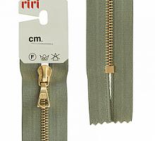 Молния riri 4мм, атлас., золото, неразъем.,   16см, подвеска FLASH, серо-зеленый