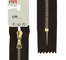 Молния riri 4мм, атлас., золото, неразъем.,   16см, подвеска FLASH, темно-коричневый