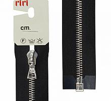 Молнии RIRI металл. NI, 6 мм, 60 см, на атласе, 1 замок разъем, подвеска FLASH 2110 черный