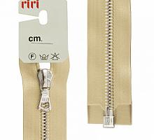 Молнии RIRI металл. NI, 6 мм, 60 см, на атласе, 1 замок разъем, подвеска FLASH 2213 золотой беж