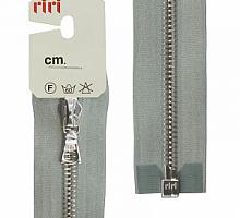 Молнии RIRI металл. NI, 6 мм, 60 см, на атласе, 1 замок разъем, подвеска FLASH 9112 серый