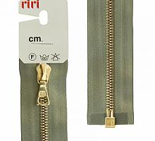 МОЛНИЯ металл, золото, разъем 1 замок, на атласе, 4 мм, 70 см, цвет 5884 серо-зеленый