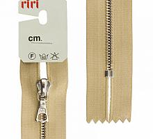 Молния riri атлас. ,неразъем., 1замок 4мм,16см, тип подвески FLASH,  Ni, цвет  золотисто-бежевый