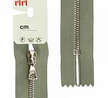 Молния riri атлас. ,неразъем., 1замок 4мм,16см, подвеска FLASH,  Ni, цвет  серо-зеленый