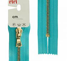 Молния RIRI металл. GO, 6 мм, 16 см, на атласной тесьме, 1 замок неразъемный, FLASH, цвет 5859 бирюзовый