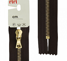 Молния RIRI металл. GO, 6 мм, 16 см, на атласной тесьме, 1 замок неразъемный, FLASH, цвет 2226 темно-коричневый