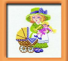"""Набор для вышивания арт.CС-596 """"Девочка с коляской"""" 19х19 см"""