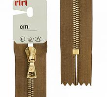 Молния riri 4мм, атлас., золото, неразъем.,   16см, подвеска FLASH, светло-коричневый
