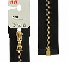 МОЛНИЯ металл, золото, разъем 1 замок, на атласе, 4 мм, 70 см, цвет 2110 черный