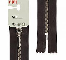Молния RIRI ТОП-СТАР металл неразъемная, 3 мм, 18 см, тип подвески TROPF, цвет цепи Ni, цвет 2226 темно-коричневый