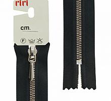 Молния RIRI ТОП-СТАР металл неразъемная, 3 мм, 18 см, тип подвески TROPF, цвет цепи Ni, цвет 2110 черный