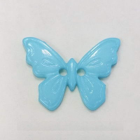 Пуговица на прокол, бирюзовая бабочка 23 мм
