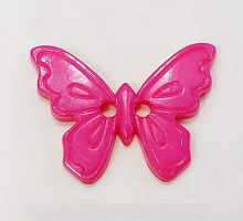 Пуговица на прокол, бубочка цвета фуксия, 23 мм