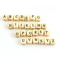 Бусины квадратные деревянные алфавит 10х10мм