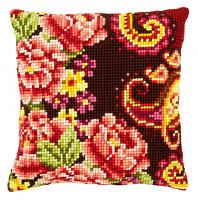 """Подушка """"Цветы с завитками III"""" набор для вышивания"""