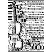 """Бумага рисовая мини формат, """"Ноты и виолончель"""""""