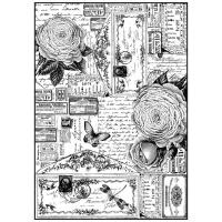 """Бумага рисовая мини формат, """"Розы и бабочки"""""""
