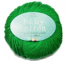 Пряжа Baby Cotton (Беби Котон), цвет 45 ярко-зеленый