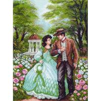 """Рисунок на канве 37х49см арт.1374 """"Прогулка по саду"""""""