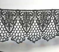 Кружево вязаное черное 6 см