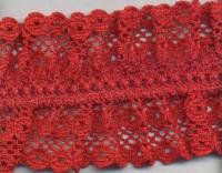 Кружево на резинке,  цвет красный 40 мм.