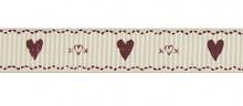 """Лента репсовая на картонной катушке """"Сердечки и поцелуи"""", 5 м"""