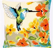 """Подушка """"Колибри с цветами"""" набор для вышивания"""