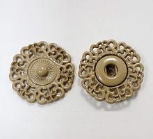 Кнопка пришивная металлическая ажурная бежевая, 21 мм