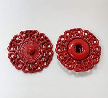Кнопка пришивная металлическая ажурная красная, 21 мм