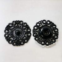 Кнопка пришивная металлическая ажурная черная, 21 мм