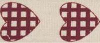 """Лента хлопковая на картонной катушке """"Сердечки в клетку"""", 5 м"""