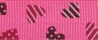 "Лента репсовая на картонной катушке ""Сердечки"", 5 м"