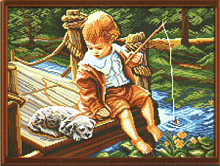 "Рисунок на канве 37х49см арт.854 ""С другом на рыбалке"""