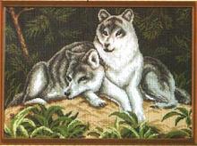 "Рисунок на канве 37х49см арт.614 ""Волчья пара"""