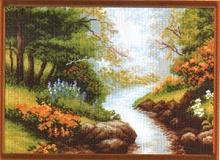 """Рисунок на канве 37х49см арт.620 """"Ручей в лесу"""""""