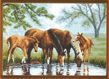 """Рисунок на канве 37х49см арт.609 """"На водопое"""""""