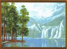 """Рисунок на канве 37х49см арт.667 """"Сосны у озера"""""""