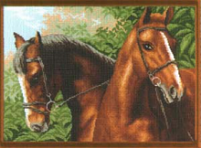 "Рисунок на канве 37х49см арт.608 ""Пара лошадей"""