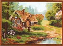 "Рисунок на канве 37х49см арт.619 ""Лесная хижина"""