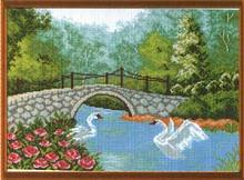"""Рисунок на канве 37х49см арт.595 """"Лебеди у моста"""""""