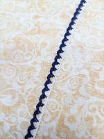 Кружево хлопковое 7 мм, белый/синий