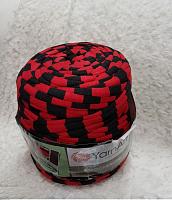 Трикотажная пряжа Maccheroni, цвет красный/черный