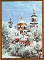 """Рисунок на канве 37х49см арт.653 """"Зимний храм"""""""